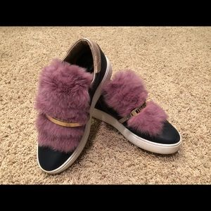 Philippe Model Navy Slides with Pink Mink Fur 38